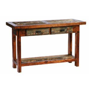 Rustic Sofa Table 48 Inches With Two Drawers Reclaimed Barnwood Rustic Sofa Tables Wood Sofa Table Spool Furniture