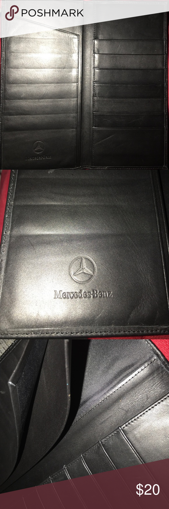 Mercedes benz black leather wallet documents cards | Leather wallets ...