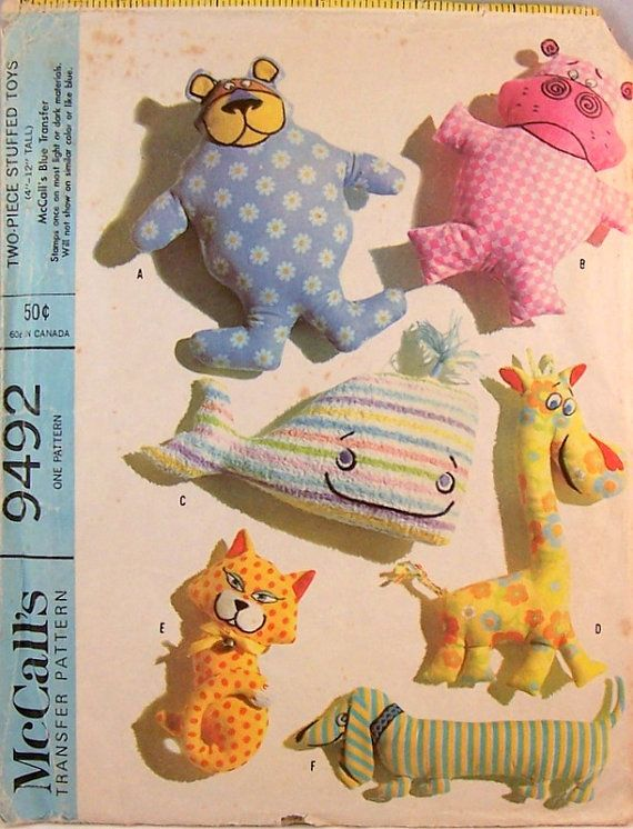 Stuffed Animal Pattern Vintage 1960s Transfer by GlimmersinTime ...
