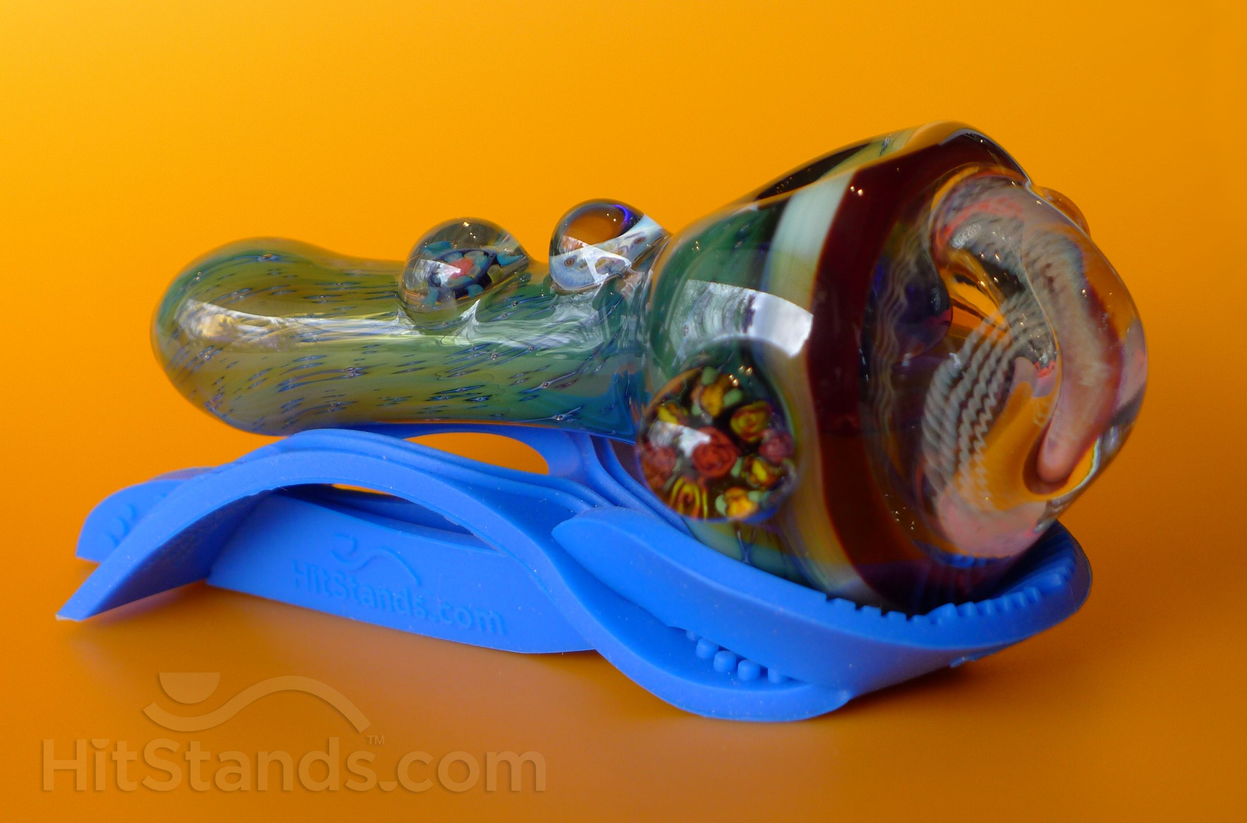 Glass pipe on a blue HitStands. HitStands.com