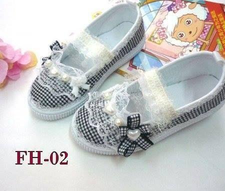 Jual Flat Shoes Anak Fh 02 Black Checkers Import Sepatu Anak