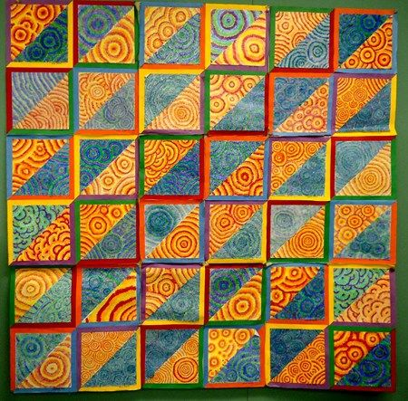 colorful quilt by 3rd grade students