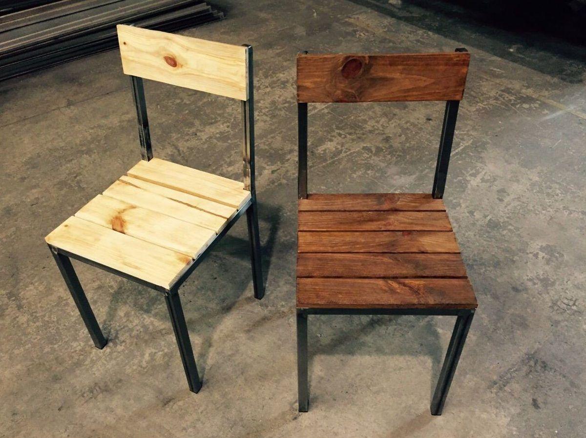 Silla para exterior hierro y madera de palet dise o for Diseno de sillas modernas de madera