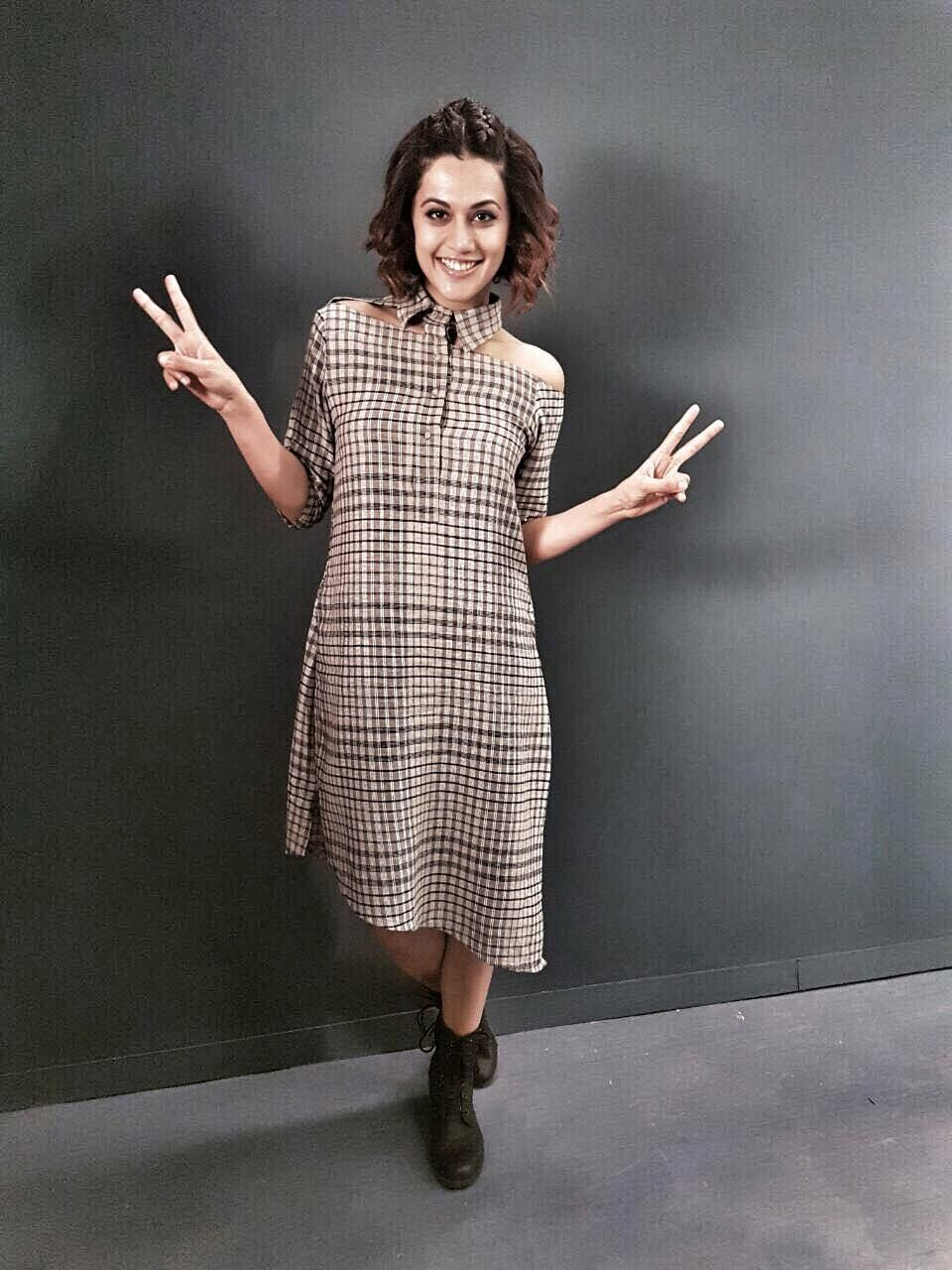 Taapsee pannu looking chic in a blueprint dress for the promotions taapsee pannu looking chic in a blueprint dress for the promotions of her movie pink malvernweather