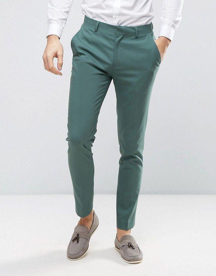 744bc516 ASOS WEDDING Skinny Suit Pants In Pine Green #affiliate   Men's ...