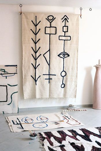 Lrnce Sabbar White Wool Blanket Blue Embroidery 3 Home Decor Accessories Graphic Rug Design