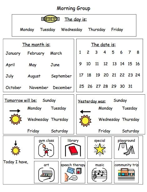 Calendar Activities For Kindergarten Students : Special education adapted calendar activities middle