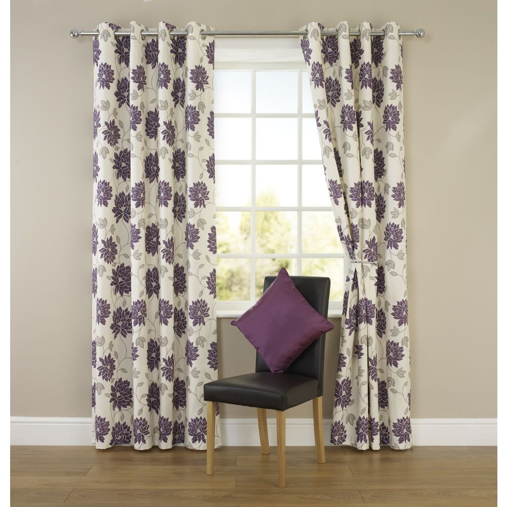 Wilko shower curtain grey at wilko com - Wilko Oriental Flower Eyelet Curtains Plum 228cm X 228cm At Wilko Com