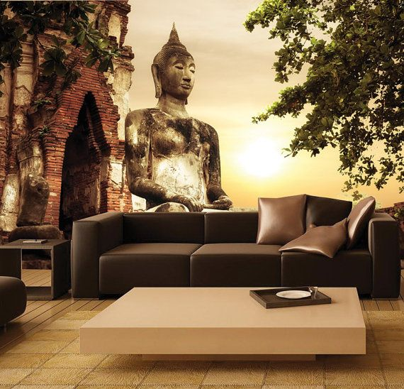 MURAL Golden Buddha Wall Paper SelfAdhesive by