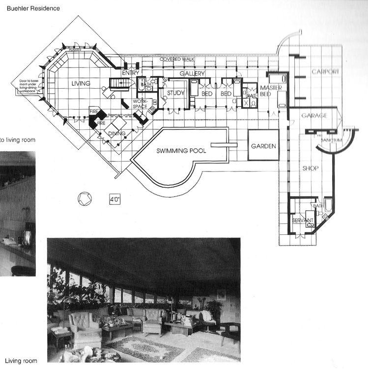 maynard and katharine buehler house orinda california 1948 usonian style frank lloyd wright. Black Bedroom Furniture Sets. Home Design Ideas
