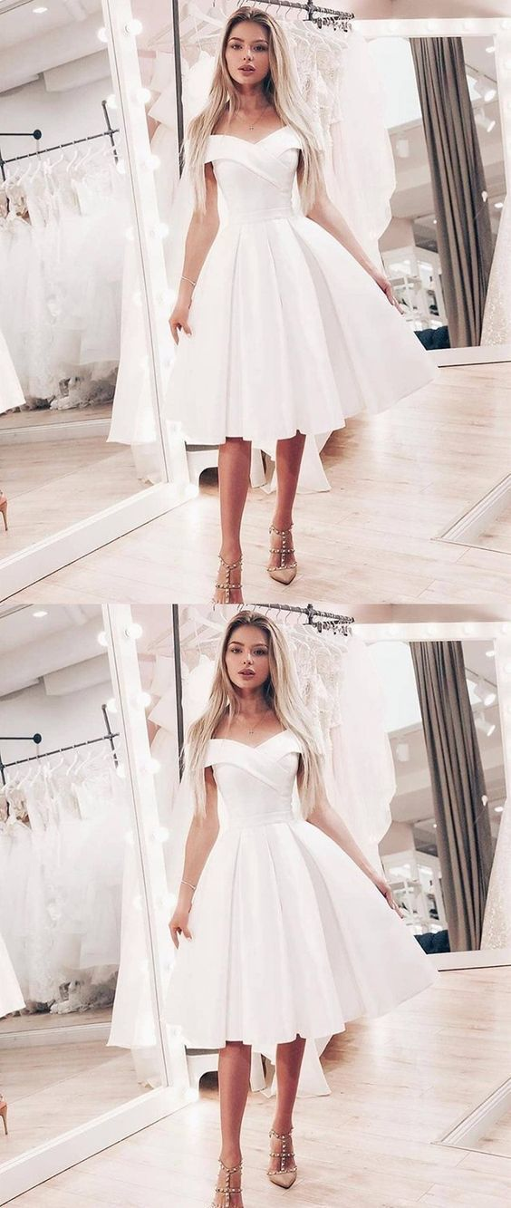 Cute A Line Off Shoulder Short White Prom Dresses ML1156