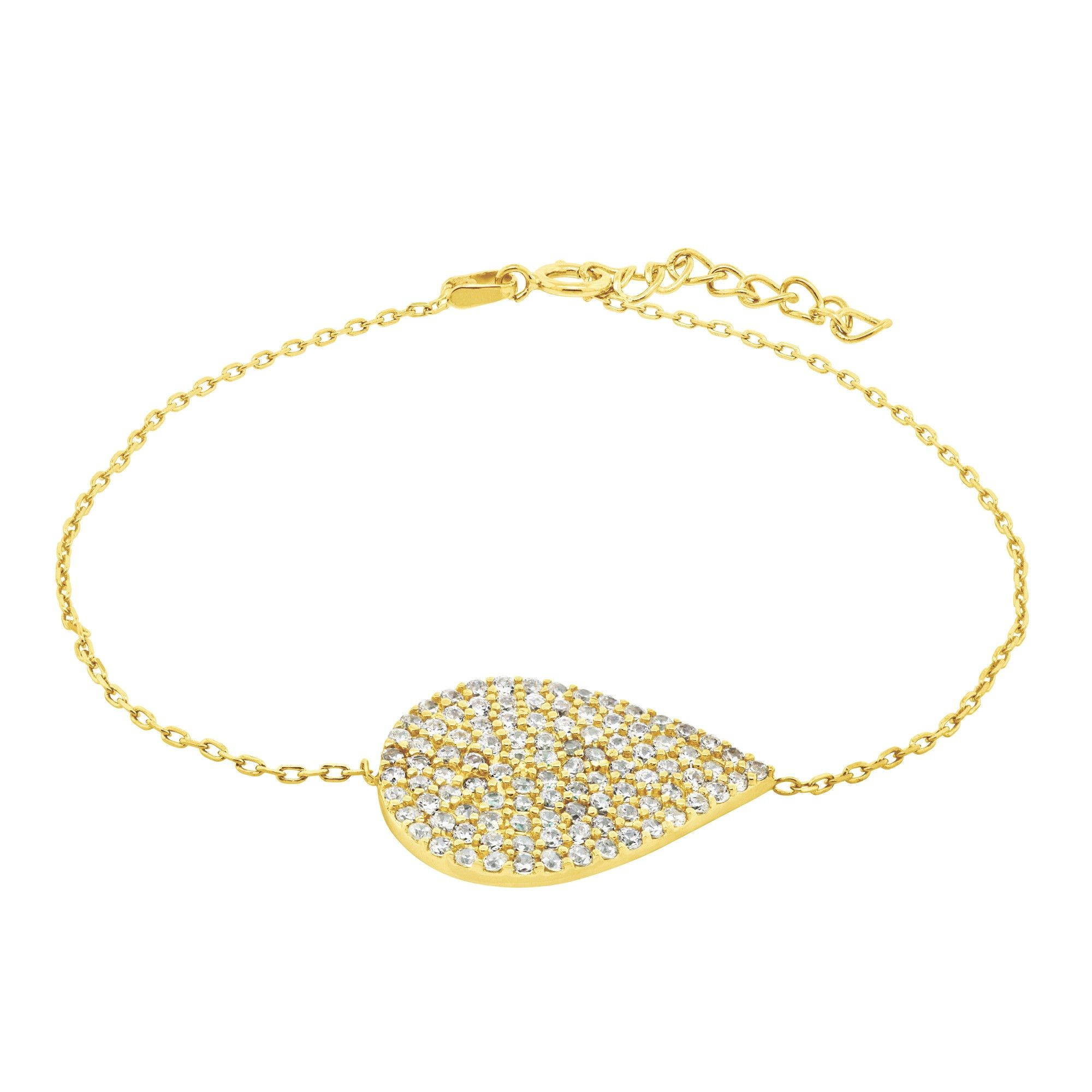 Vanessa - You'll love this pave-set, teardrop bracelet. A silky smooth chain wraps your wrist and showcases the striking studded pear shape in the center. The bracelet fastens with a spring clasp and features a generous extender.   Total Carat Weight: 0.5 Metal Type: Sterling Silver or Yellow Gold Vermeil This item does not contain Diamond Nexus simulant stones.  This item is not part of our lifetime guarantee.  Product Model: LBXXST0010X