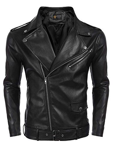 eabe33f59 Nantersan Men's Leather Jacket Stand Collar PU Mens Faux Fur Coats ...