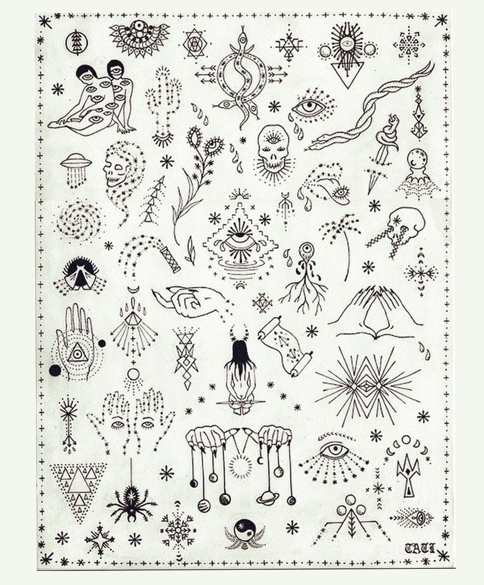 stick and poke tattoo flash sheet Archives - Bueno Company