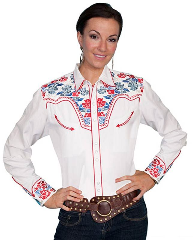 e87da4fa4ce760 Scully Women's White Red and Blue Floral Embroidered Retro Western Shirt