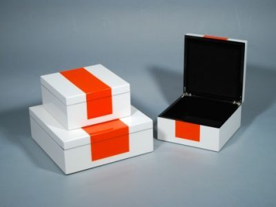 White Lacquer Hinged Box with Orange Stripe