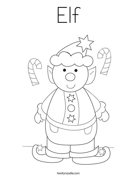Elf Coloring Page - Twisty Noodle | Coloring pages