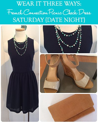 Wear It Three Ways: French Connection Picnic Check Dress: Saturday {Date Night} | Taim Boutique