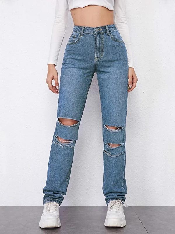 Vaqueros Rectos Rotos De Cintura Alta Shein Ropa Moda De Ropa Pantalones Jeans De Moda