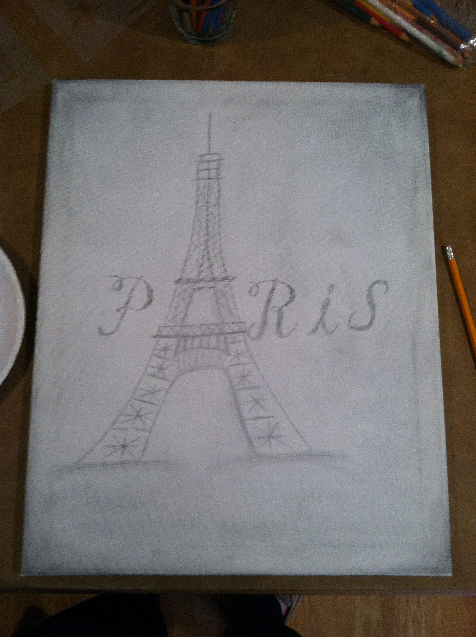 Diy Drawings Art Paintings Eiffel Tower Drawing On Canvas