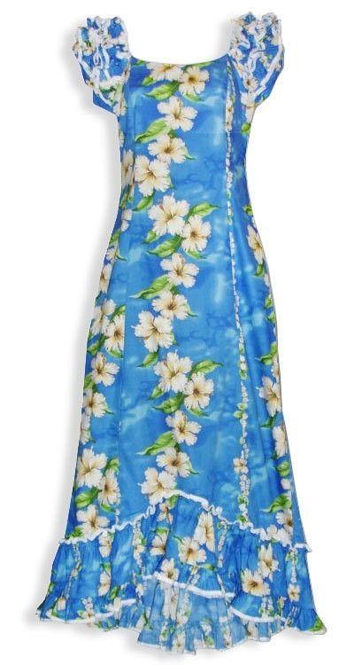 Details about Women\'s Hawaiian Blue Floral Tropical Muumuu ...