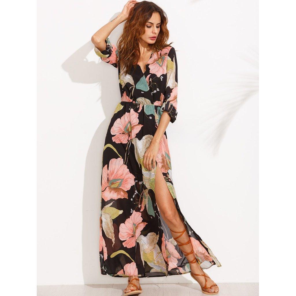 Floral print plunge surplice split full length dress full length