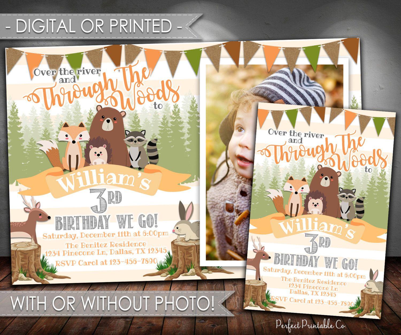 Woodland Birthday Invitation Animal Boy 541 By PerfectPrintableCo
