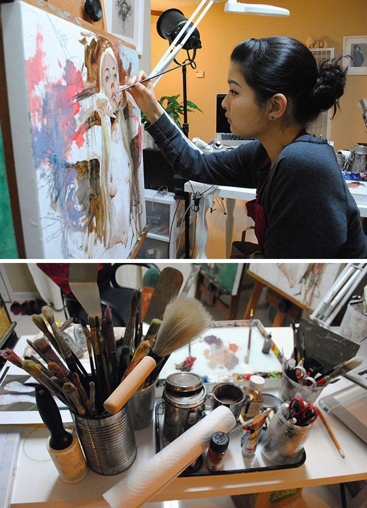 Soey Milk painting in her art studio #workspace.