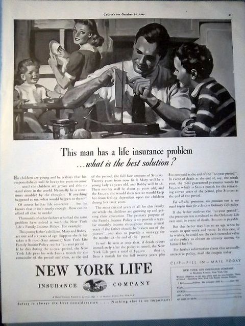 1940 New York Life Insurance Dad Boy Building Sailboat New