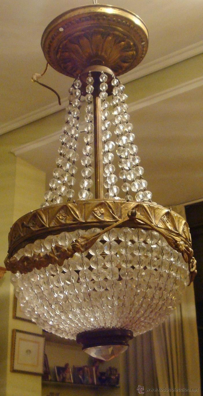 L mpara de techo de bronce y cristal a os 20 a os 20 - Lamparas anos 20 ...