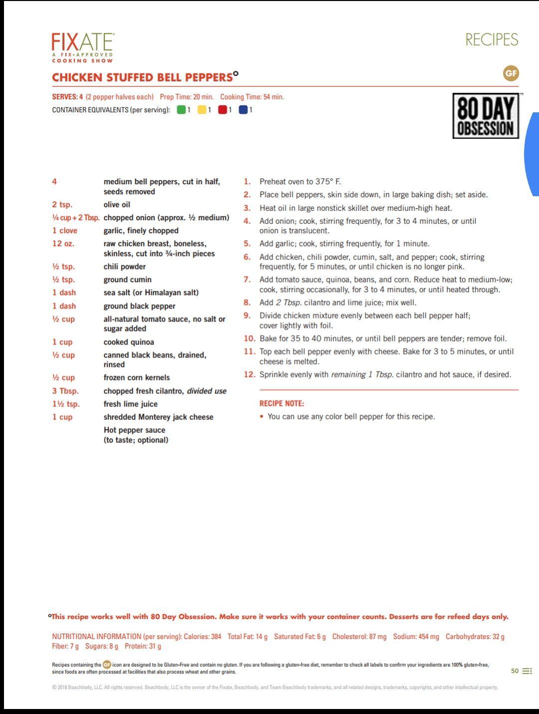 Chicken Stuffed Bell Peppers 21 Day Fixate Recipes 21 Day Fix Menu Fixate Cookbook