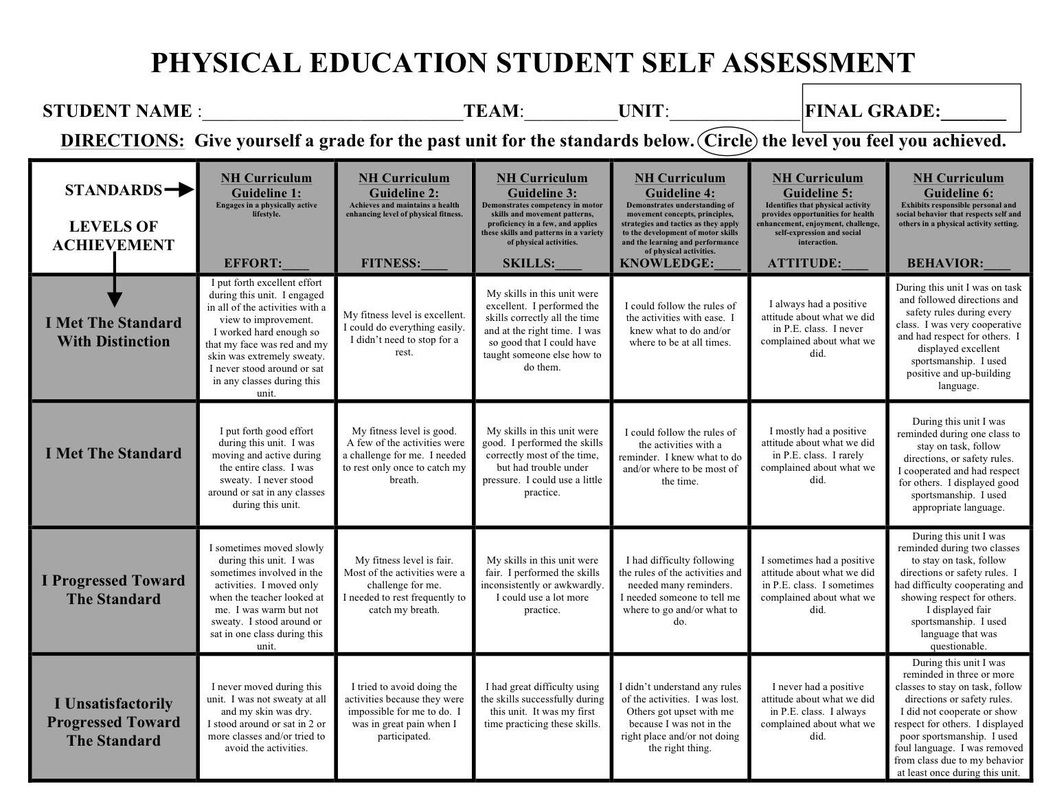 Physical Education Assessment Rubric | PE | Pinterest | Physical ...