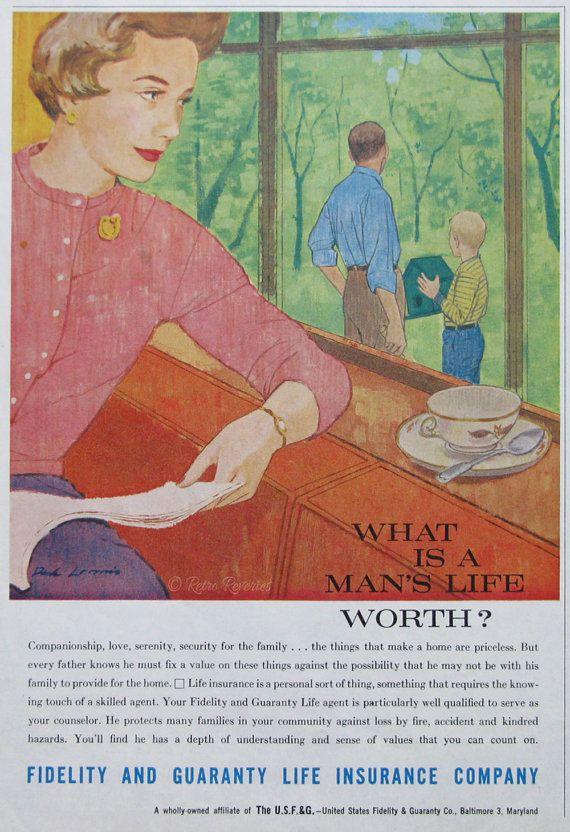 1961 Fidelity Guaranty Life Insurance Company Ad 1960s Family