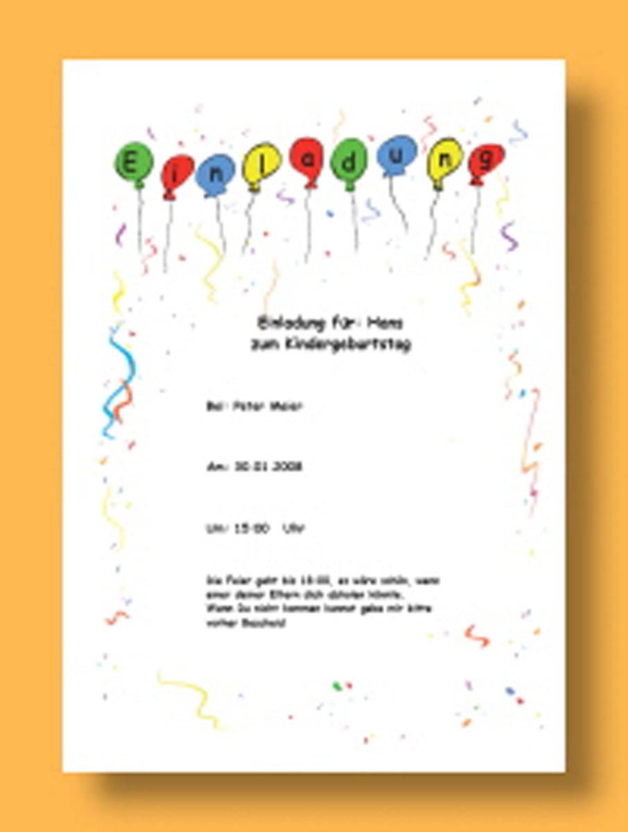 Vorlage Einladung Geburtstag Kostenlos Ausdrucken - in 5