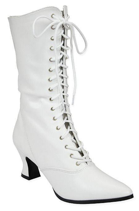 """57394fe7aa Our White Victorian Boot make a pristine statement with all your 19th  century inspired fashions. The perfect """"I do"""" for your historical wedding  ensemble."""