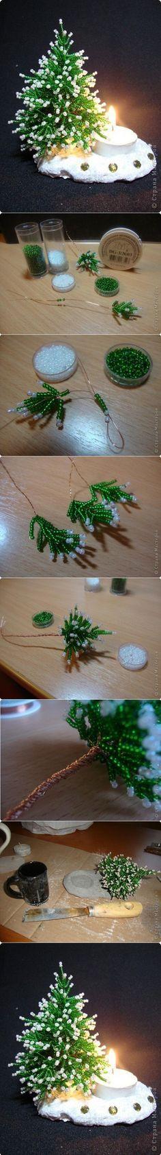 Herringbone Beans Miniature Christmas Tree, Genial yo quiero hacer esto para mi escritorio.