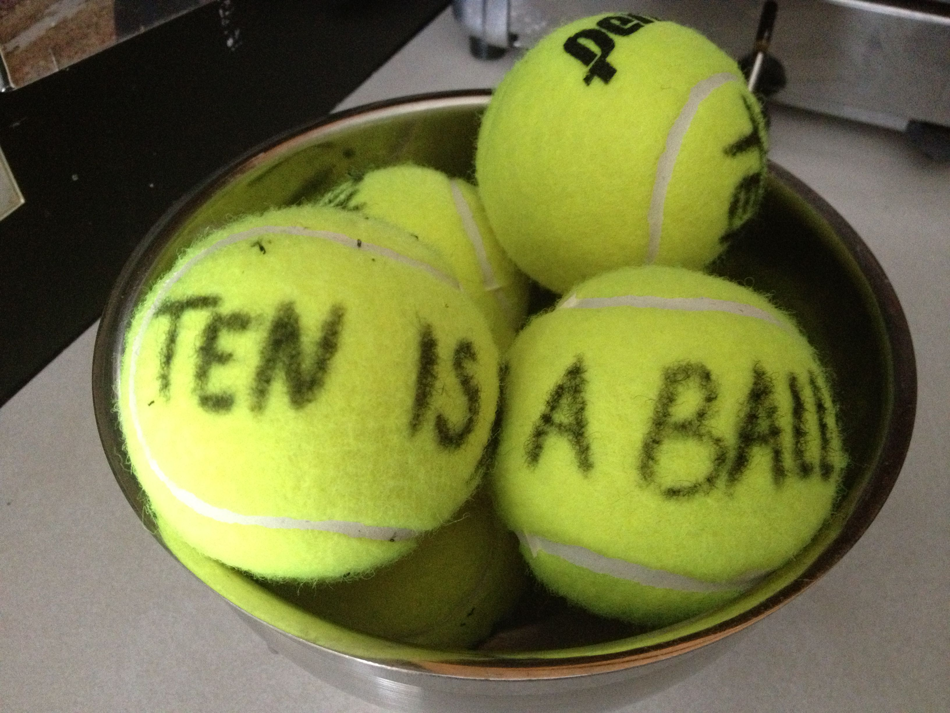 Tennis ball Ten is a Ball Party favor for 10 year old birthday