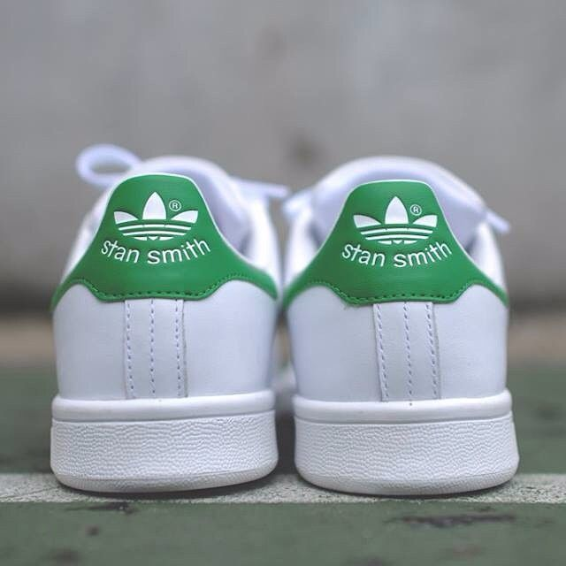 """#ShareIG Adidas Originals Stan Smith - """"White / Green""""  Adidas Originals bring back one of it's most iconic models, the Stan Smith. The sneaker features a white lux leather upper, with a hit of green on heel. Key features include perforated branding along the side panel as well as the face of tennis icon stamped on the tongue. A white midsole and tonal laces finish the look.  Material: Leather  Price: $120 Sizes: 8-13 Shipping: $10  PM TO PLACE AN ORDER"""