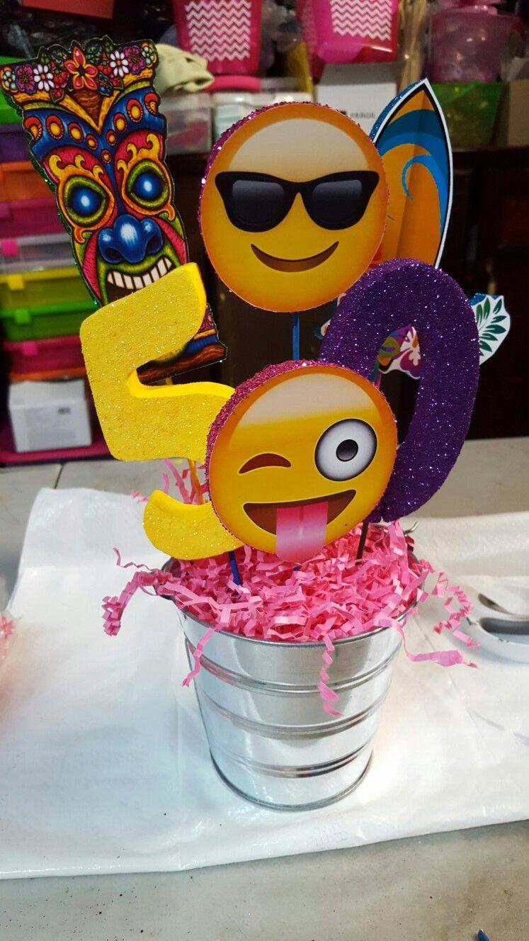 Emoji luau centerpieces joys beautiful creation - Decoracion para cumpleanos ...