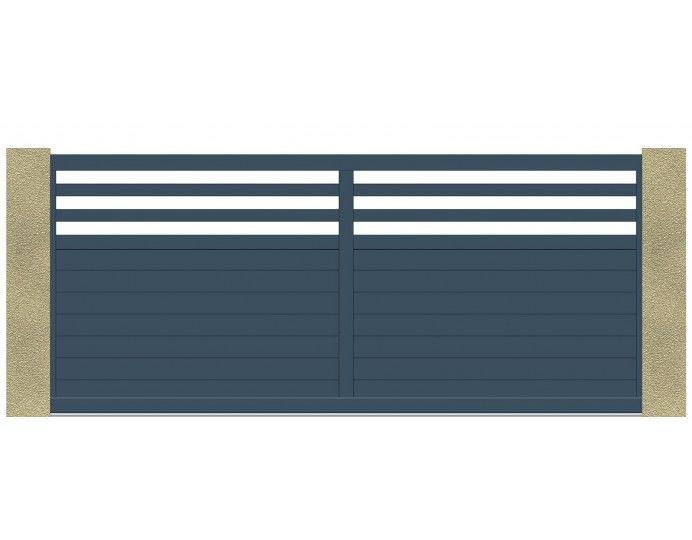 Portail coulissant traditionnel, couleur au choix à barreaudage - motorisation portail battant ouverture exterieure