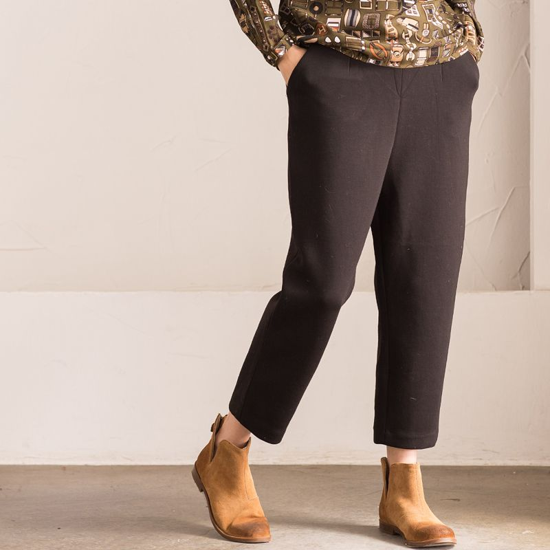 1dbaa83c4493 Simple Design Straight-Leg Black Pants Winter Plain Boot Cuts  black  pants   trousers  bootcuts  plain  simple  straight  winter