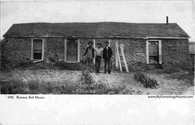 A Vintage Postcard Of A Sod House On The Kansas Prairie This Type