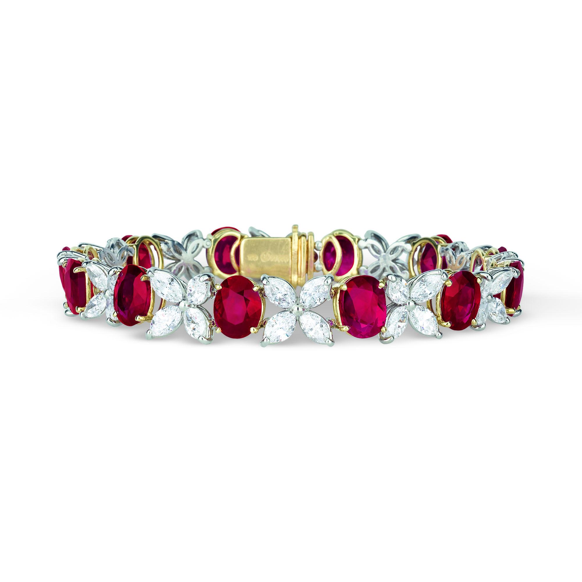 9acbf34fda7 12 Untreated Burma Ruby and Diamond Bracelet 22.85 Carats