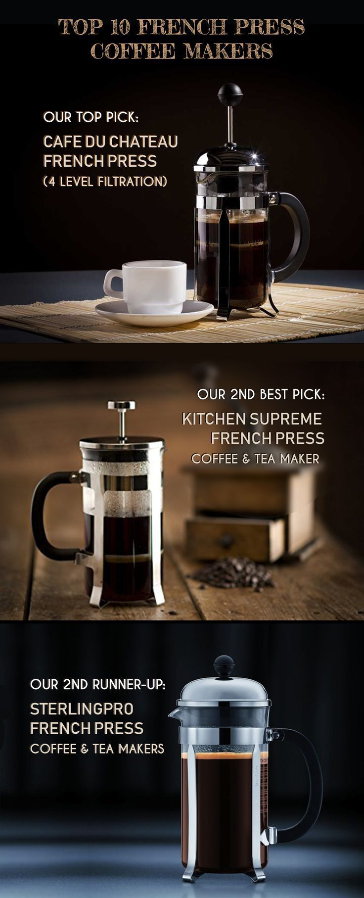 A French press makes coffee making simple. You can't go