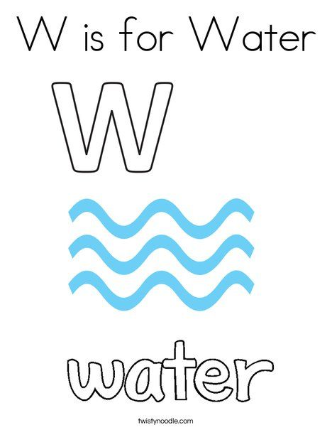 W is for Water Coloring Page - Twisty Noodle   Coloring ...