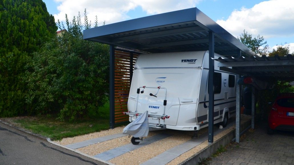 myport wohnwagen caravan einzelcarport mit wandelement holz offen carport carports. Black Bedroom Furniture Sets. Home Design Ideas