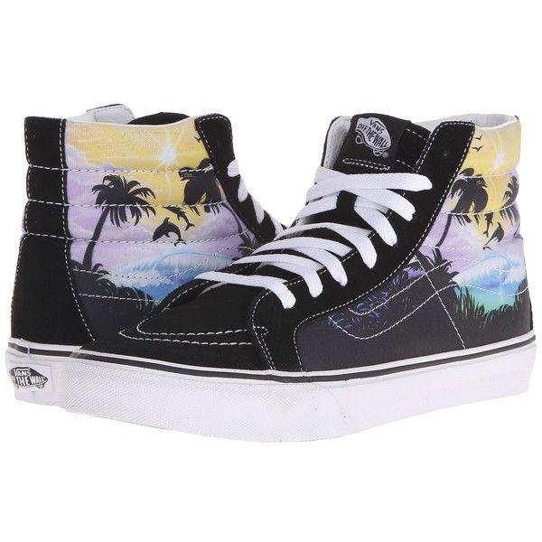 Vans SK8-Hi Slim Skate Shoes ($65) ❤ liked on Polyvore featuring shoes, sneakers, vans sneakers, high top shoes, leather shoes, vans high tops and vans trainers