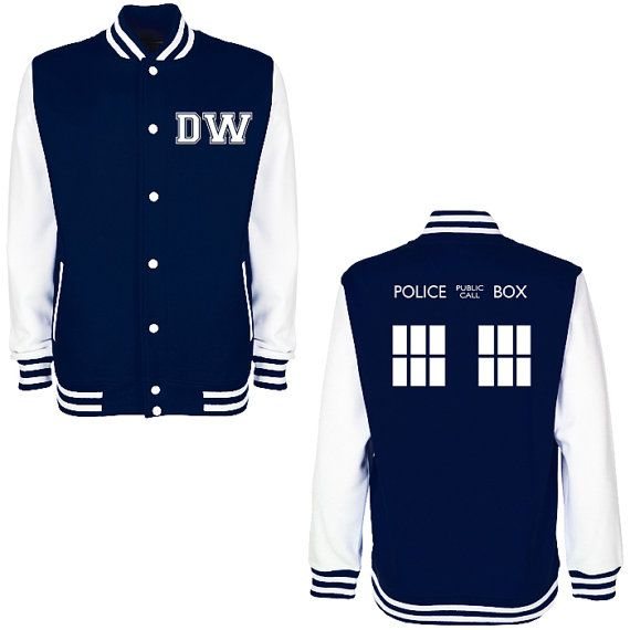 DW TARDIS Police Box Varsity Jacket  Whovian by PrintMyClothing Most unique letterman jacket ever!