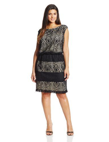 London times lace blouson dress