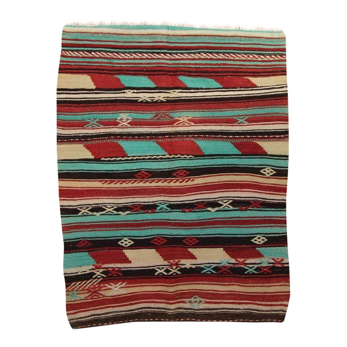 "Image of Kilim Handmade Flat Woven Rug - 2'8""x3'5"""
